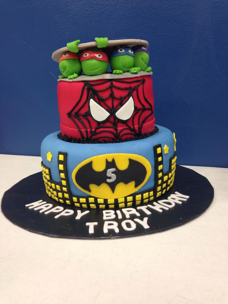 Ninja Turtle Spider Man Amp Batman Cake Birthday Cakes