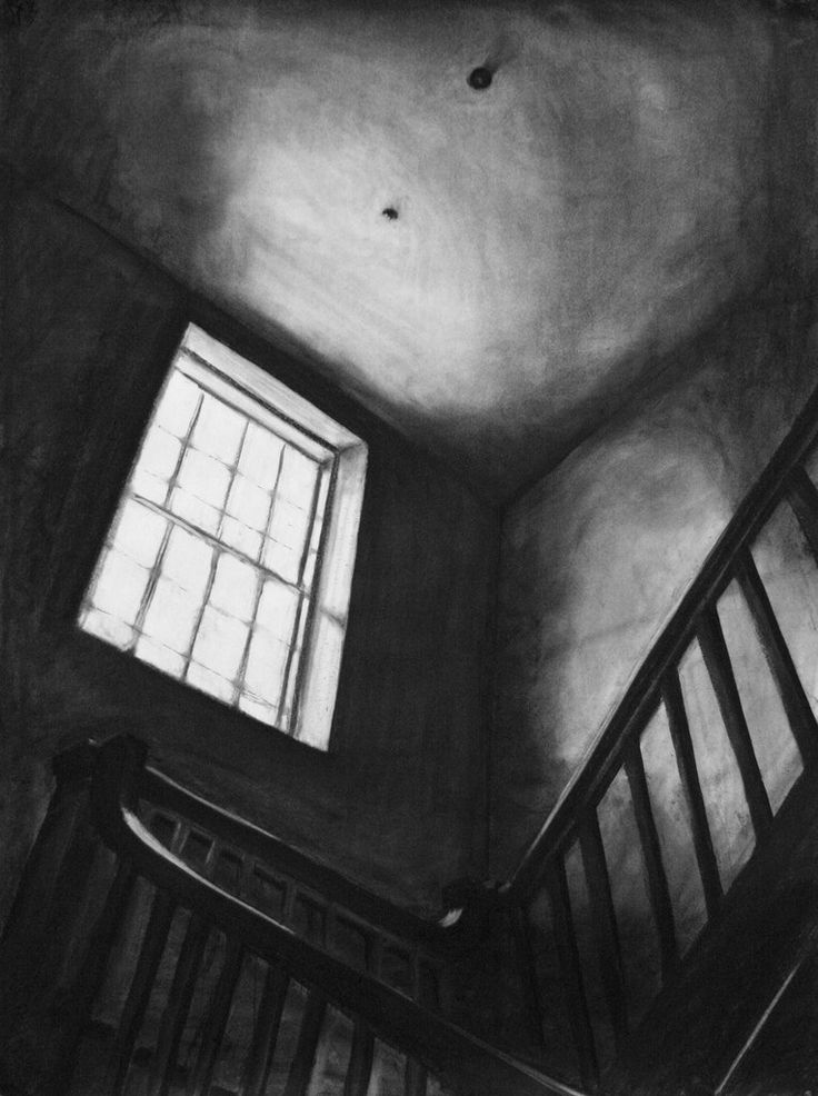 """Clara Lieu, Student Artwork, RISD Foundation Studies, Freshman Drawing course, Interior Architectural Space Defined by Light Assignment, charcoal, 36""""..."""