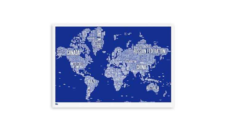 MONOQI | World Type Map - Blue