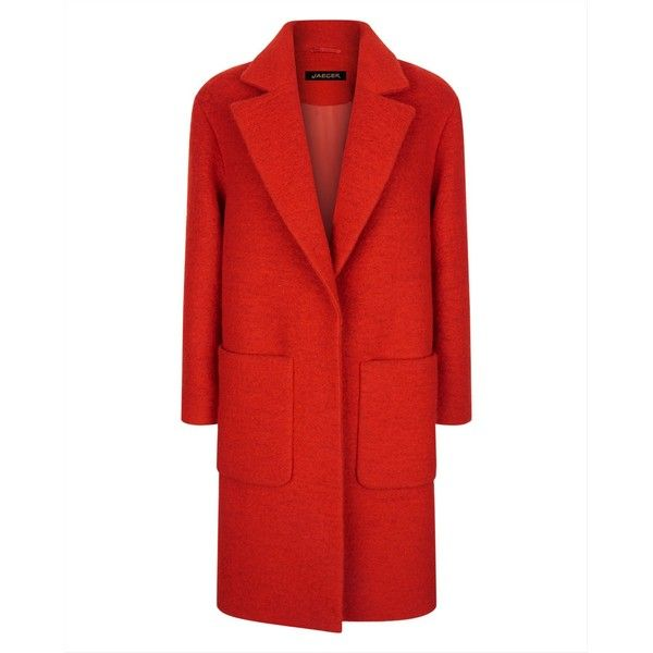 Jaeger Jaeger Boiled Wool Patch Pocket Coat (15.495 RUB) ❤ liked on Polyvore featuring outerwear, coats, boiled wool coat, jaeger coats, oversized coat and red coat