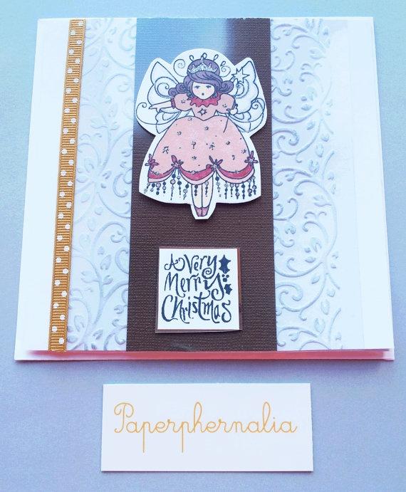 Christmas Fairy Angel Christmas card by PaperphernaliaDesign, £3.75