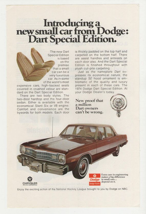 1974 Dodge Dart Special Edition Advertisement 70s Car by fromjanet, $7.00
