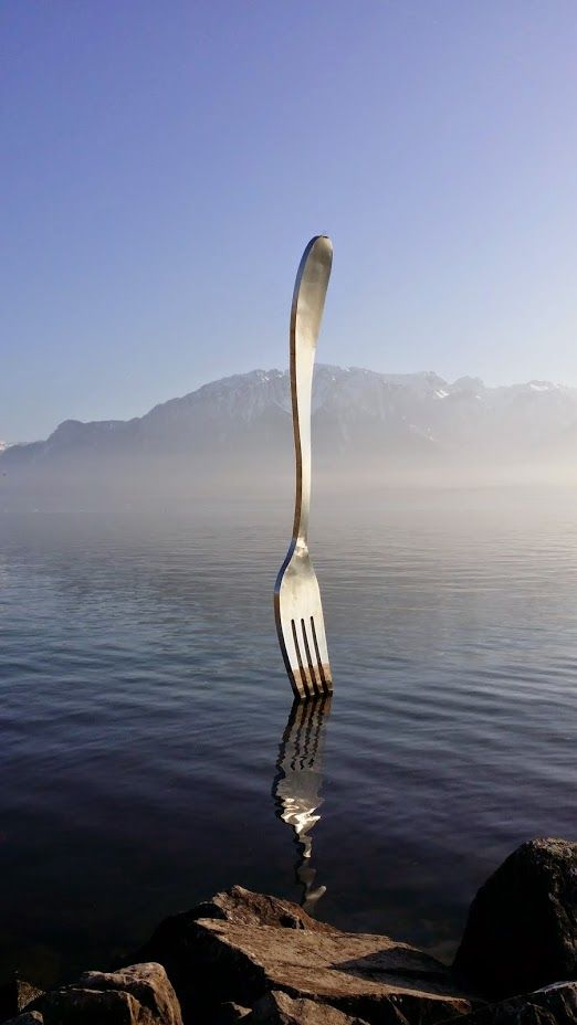 The fork sculpture at Vevey - Switzerland