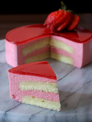 Strawberry Mirror Cake - Hubby would love this cake.