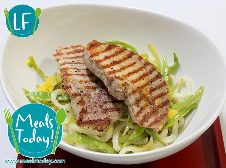 Lemon Pepper Pork with Snow Peas & Udon Noodles  Available to order now, for delivery on Tue 30th September  www.mealstoday.com    #mealstoday