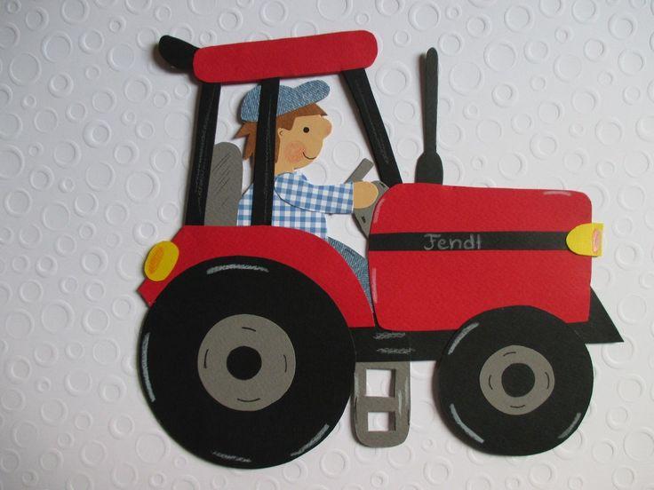 Fensterbild*Tonkarton* TraktorKinder*Herbst*Winter*Deko*Bauernhof* 8