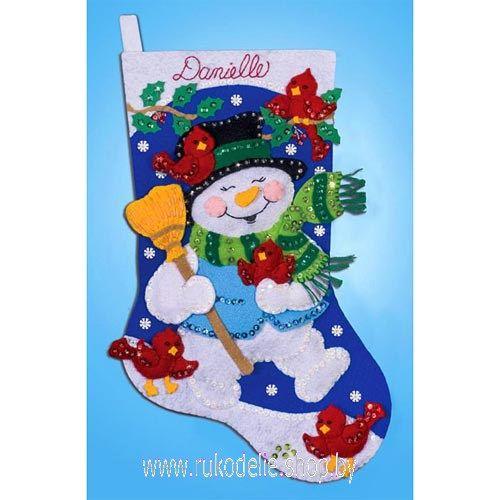 """Набор для рукоделия из фетра Design Works Crafts 5003 Рождественский сапожок """"Весёлый снеговик"""""""