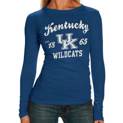 TWO DAYS ONLY: All Ladies & Kids apparel is marked down 15-40% at Fanatics! Get this Kentucky Wildcats Long Sleeve T-Shirt for only $18.66: http://pin.fanatics.com/COLLEGE_Kentucky_Wildcats/on_sale/yes/Kentucky_Wildcats_Ladies_Royal_Blue_Distressed_University_Long_Sleeve_Tissue_T-shirt/source/pin-uk-ladies-sale-sclmp