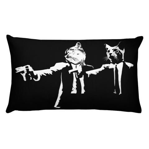 This 20 in. x 12 in. pillow is comfortable to hold, just like your cat. It's the perfect accent piece for any space. Made from 100% pre-shrunk polyester. Free shipping. #Movie #cat #moviefan #pillow #madeinusa