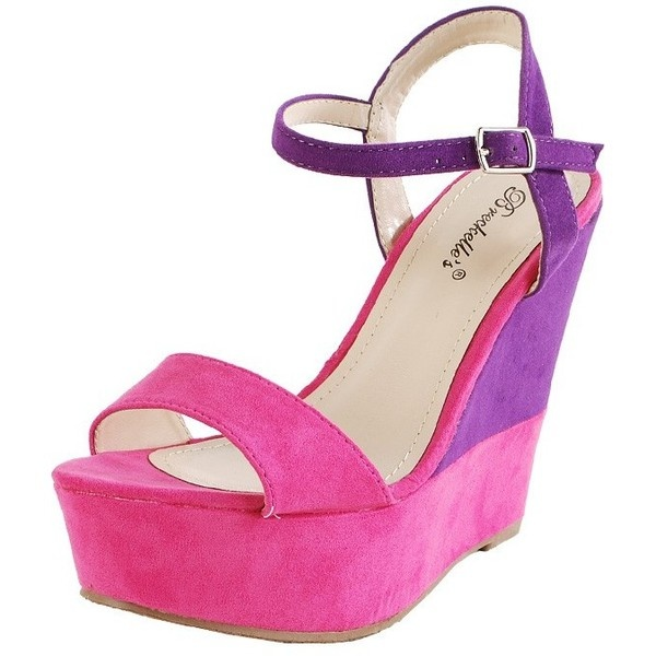 Haley01 Color Block Ankle Strap Wedges HOT PINK ($60) ❤ liked on Polyvore