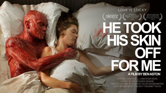 The story of a man who takes his skin off for his girlfriend, and why it probably wasn't the best idea...  BEHIND THE SCENES - https://vimeo.com/116467047  Please turn off the lights. Use headphones. Go full screen. It's worth it.  'He Took His Skin Off For Me' is a practical SFX fairytale. No CGI whatsoever. Based on the short story by Maria Hummer it is my grad film from the London Film School. It took us 2 years, 217 Kickstarter backers and a whole lot of fake blood to pull off. SFX ...