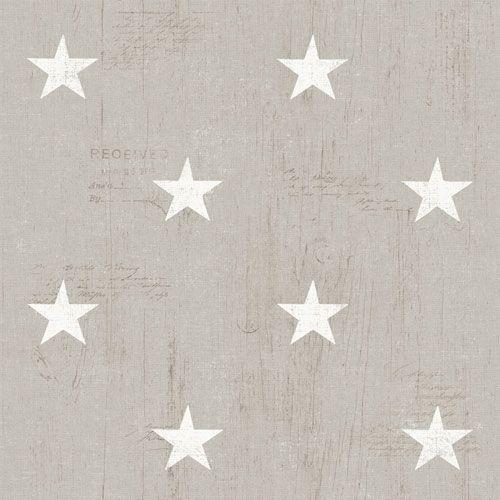 Vita stjärnor på beige trämönstrad botten från kollektionen Hantverk, 17320. Klicka för fler fina tapeter för ditt hem!