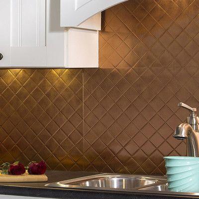"Fasade Quilted 18.25"" x 24.25"" PVC Backsplash Panel Kit in Antique Bronze"