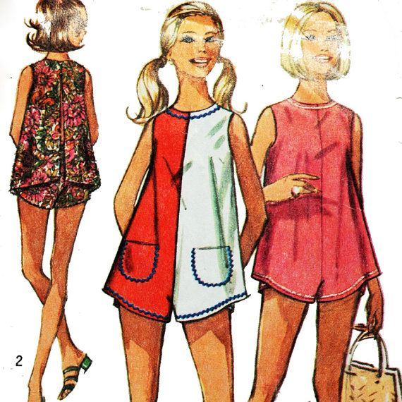 Vintage 70s Womens Romper Pattern / Simplicity 8753 / One Piece Beach Romper Pantdress Pattern / Size 12