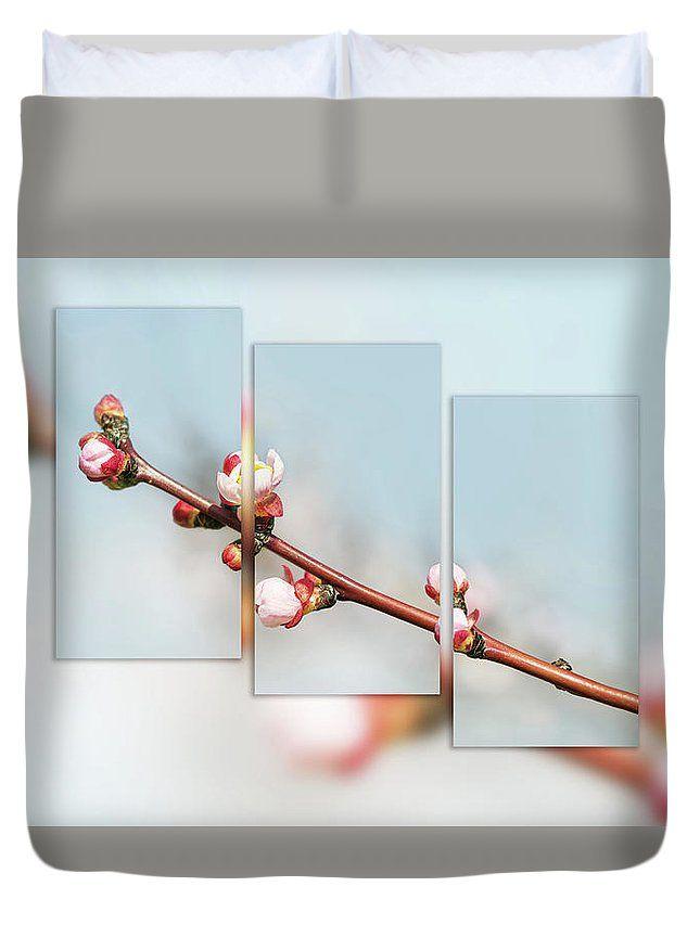 Spring Awakening.Triptych  Duvet Cover by Larysa Koryakina #HomeIdeas #LarysaKoryakinaFineArtPhotography #DuvetCover #BedroomIdeas #ArtForHome #interiordesing #artforsale #cover #bed #bedroom