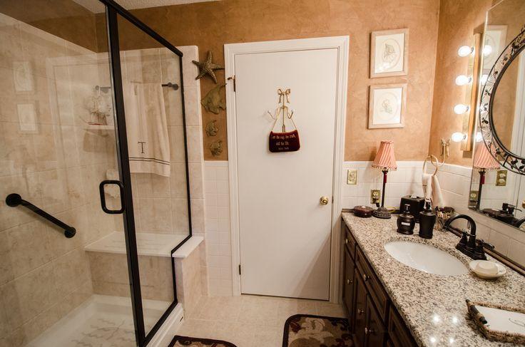 Glass Walk In Shower Glass Door Grab Bar Towel Bar