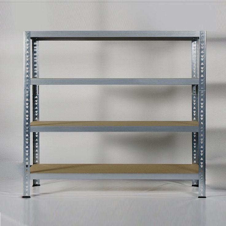 En praktisk förvaringshylla i galvaniserad metall med fyra hyllplan av trä. Går även att använda som arbetsbänk.