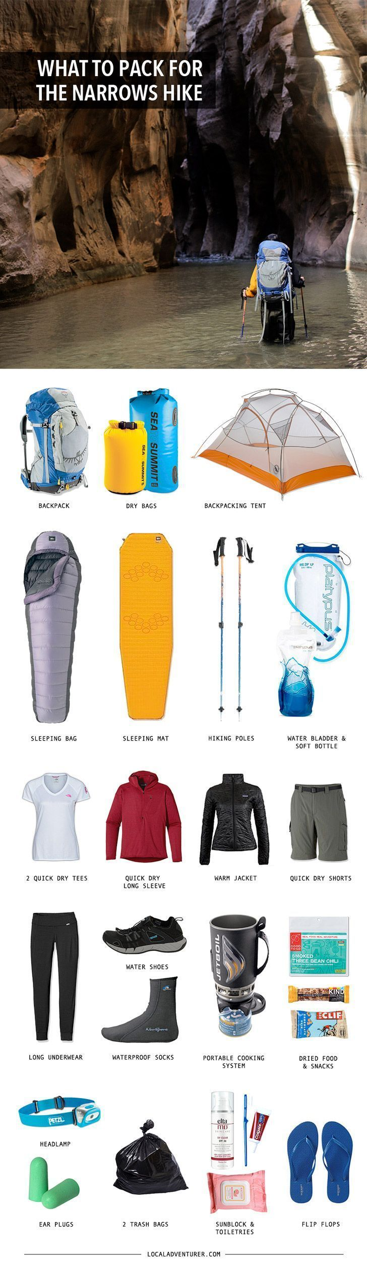Backpacking gear list for the zion narrows hike tips backpacking gear listbest camping