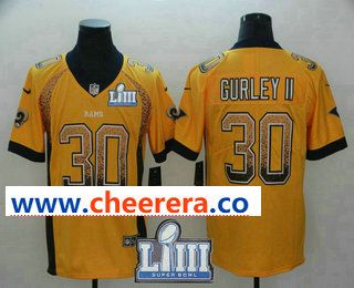 af2c40a1d Men s Los Angeles Rams  30 Todd Gurley II Gold 2019 Super Bowl LIII Patch  Fashion Drift Color Rush Stitched NFL Nike Limited Jersey