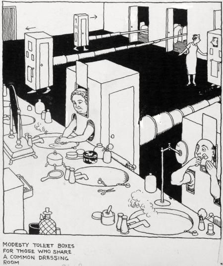MODESTY TOILET BOXES FOR THOSE WHO SHARE A COMMON DRESSING ROOM by WILLIAM HEATH ROBINSON
