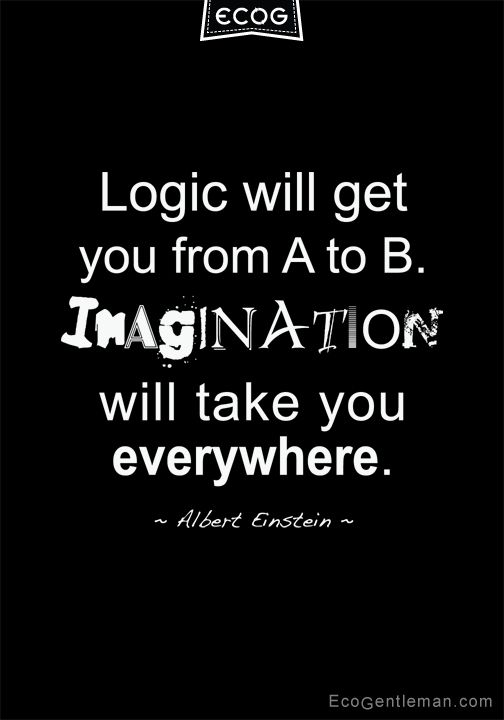 """♂ Quote by Albert Einstein """"Logic will get you from A to B. IMAGINATION will take you everywhere"""""""