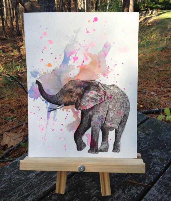 Elephant Animal Watercolor Painting - Original Watercolor Painting Great Baby Nursery Wall Art. $40.00, via Etsy.