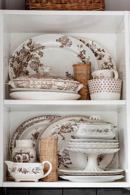 "sneak peek: jane cameron, fête magazine    ""This is just part of my brown & white transferware collection displayed in our kitchen. I started collecting over ten years ago, and I find it completely irresistible."""