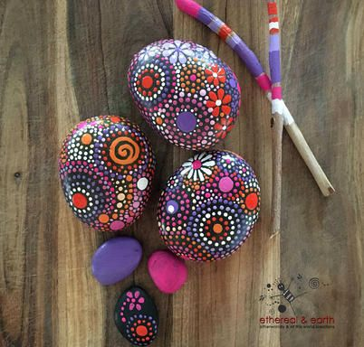 Hand Painted River Rocks ... - ethereal & earth   Scott's Marketplace