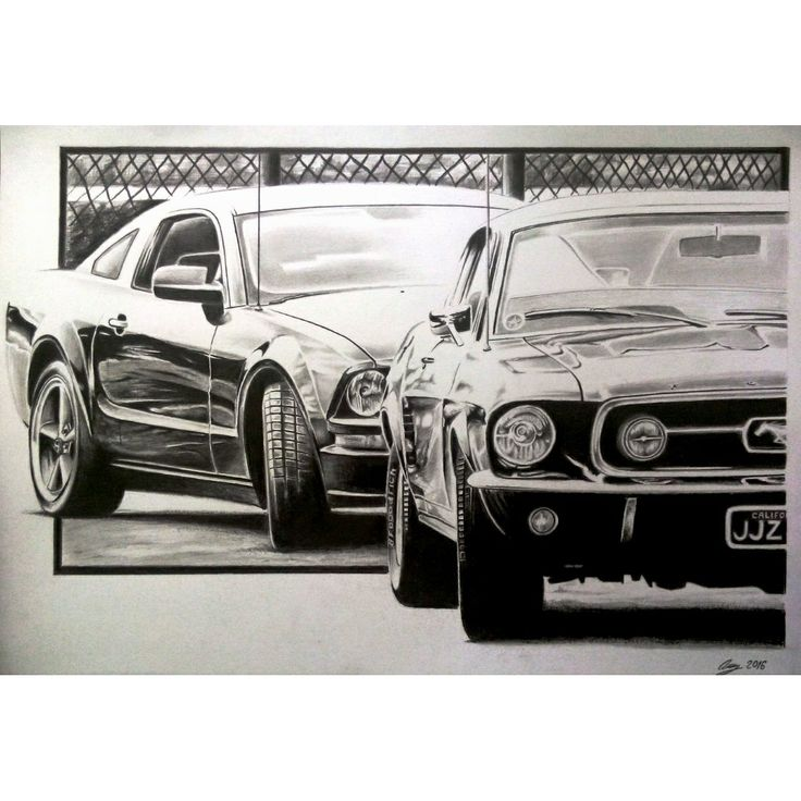 Ford Mustang-Steve McQueen tribute-graphite drawing