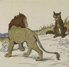 El lobo orgulloso de su sombra y el león http://www.encuentos.com/fabulas/el-lobo-orgulloso-de-su-sombra-y-el-leon/