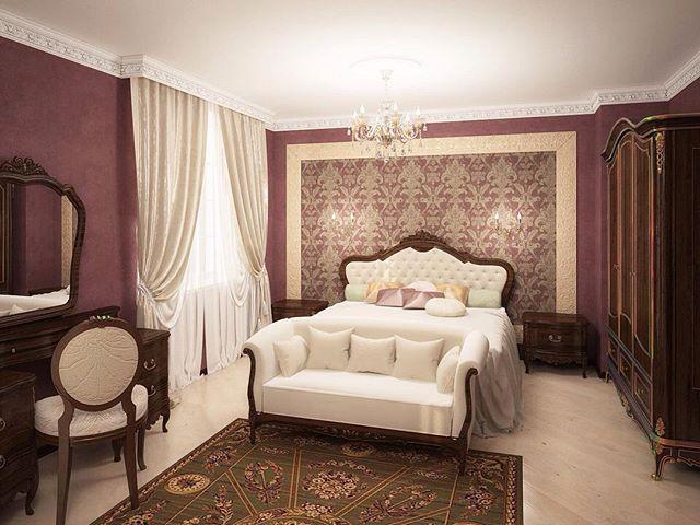 Благородный интерьер спальни в загородном доме в Подмосковье. Утонченность и изысканность интерьеру придают ткани с богатой фактурой, деревянная мебель, сложный цвет стен. Для настоящих ценителей роскоши.