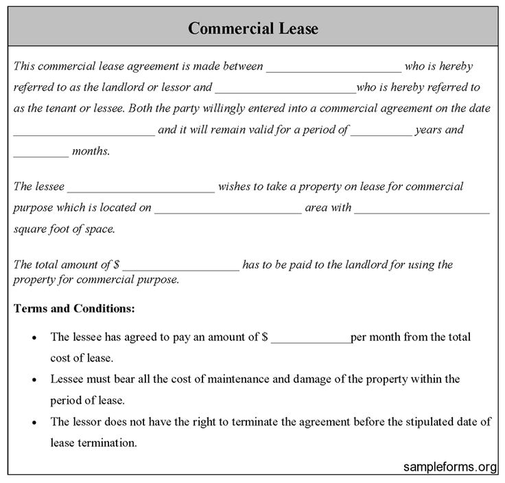 Commercial Lease Form, Sample Commercial Lease Form Sample Forms - basic sublet agreement