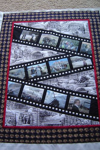 What a great idea for a memory quilt - filmstrips with photo blocks across the quilt