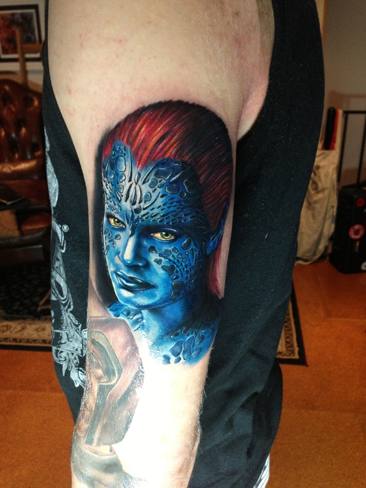 Mystique x men tattoo by mick squires melbourne australia