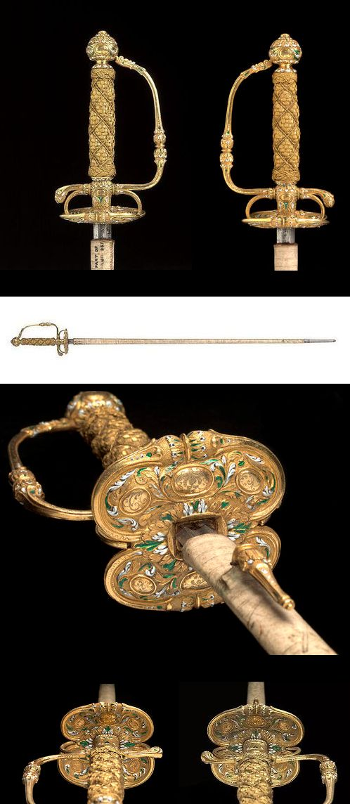 Small Sword Dated: circa 1670 Artist/Maker: Joannes Kalkoen Culture: Dutch Place of origin: Amsterdam, Holland  Medium: steel and enamelled gold