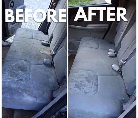 What you'll need: * 1 cup of Distilled vinegar * 1 cup of Club soda * 1/2 cup of Blue dawn dish washing liquid. (Use more or less if you want!) * Spray Bottle * Scrub brush  What to do: 1. Mix everything together in a spray bottle and shake it up really good. 2. Spray on the seats and let soak for 5-10 minutes. 3. Scrub in circular motion with a brush and you'll notice the stains lift up as you are scrubbing. 4. Take a wash cloth, wet it, and wipe down to remove the soap.