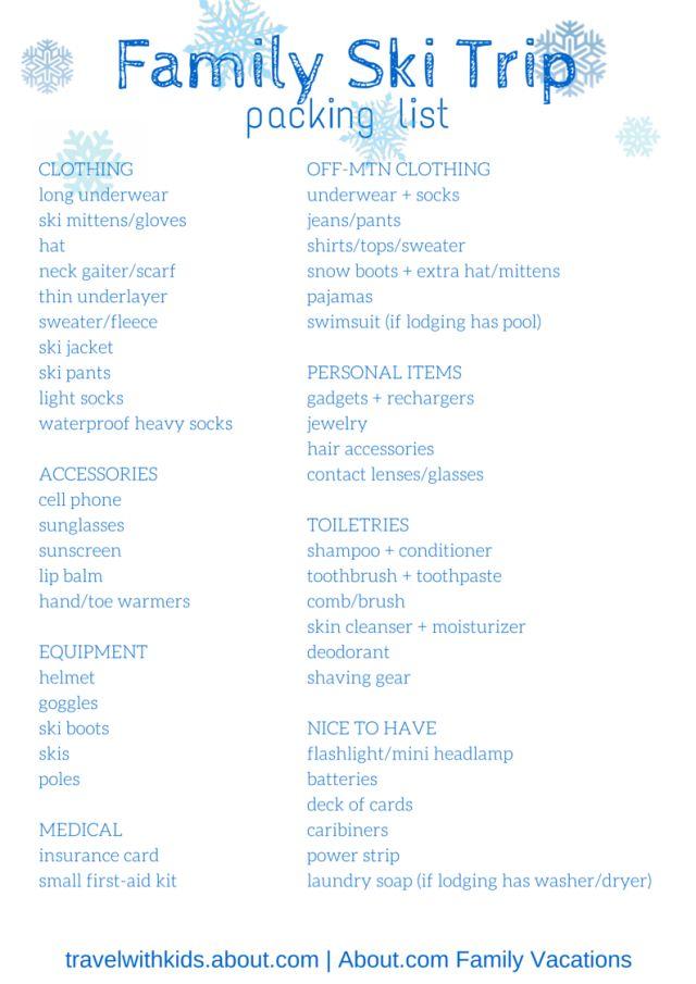 Free Printable Packing List for Family Ski Trips