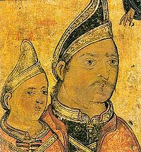 Neagoe Basarab and his son Theodosie (icon from the Dionysiou monastery)