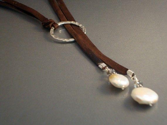 Leder und Sterling Silber Halskette Leder und Münze von IseaDesigns