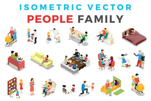 Vector Family People Isometric Flat by Sentavio on @creativemarket