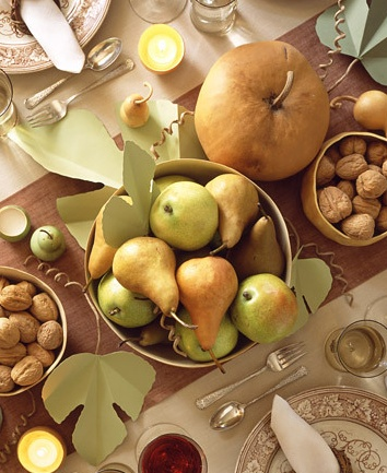 martha stewart living fall thanksgiving table pears pumpkins wallnuts: Idea, Harvest Tables, Thanksgiving Centerpieces, Colors Schemes, Pears, Martha Stewart, Autumn Harvest, Fall Tables, Thanksgiving Tables Sets