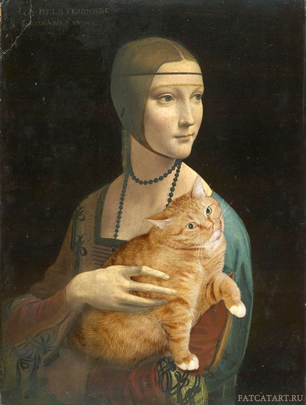 Russian artist Svetlana Petrova inserts her fat cat Zarathustra iInto Lady with an Ermine by Leonardo da Vinci (1489–1490)