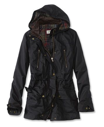 Our waxed cotton jacket delivers all-day versatility to the performance-driven Orvis woman. Crafted of cotton fabric treated for wind and rain resistance. Four storm-proof pockets keep essentials handy and protected. Double-needle construction for durability. Plaid lining for hood and body. Snap storm flap. Internal drawcord at the waist. Cotton jacket; polyester/cotton lining. Spot clean with damp sponge.