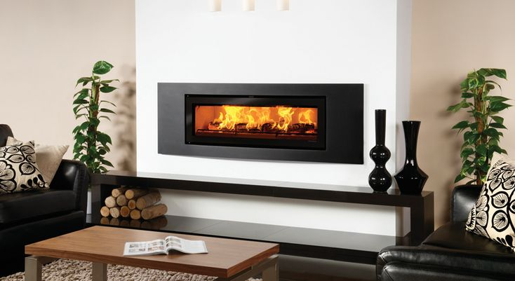 Riva Studio Verve Inset Wood Burning Fires - Stovax Built In Fires, Contemporary Fireplaces