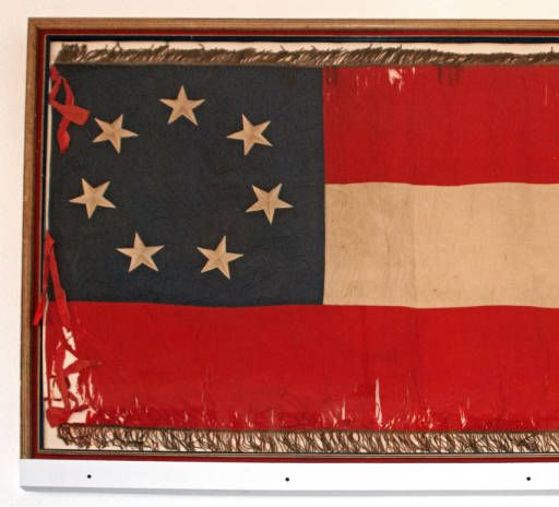 Seven-star Confederate 1st National flag used at Murfreesboro (Tenn.) when Gen. Nathan Bedford Forrest raided the town, July 13, 1862.  The flag belonged to Capt. Charles Anderson, Forrest's aide-de-camp.