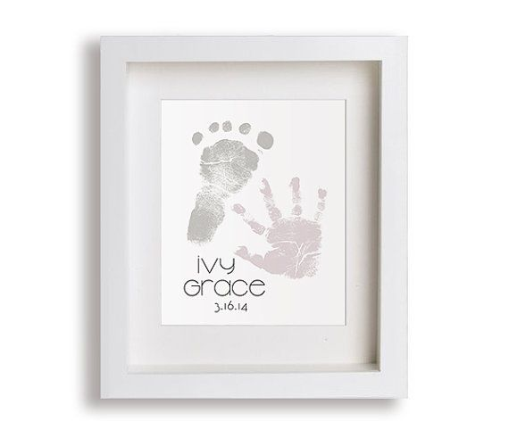 New Baby Footprint and Handprint Art - Personalized, Custom, Nursery Decor, Children Decor, Keepsake, Footprint, Handprint, Birthdate on Etsy, $39.95