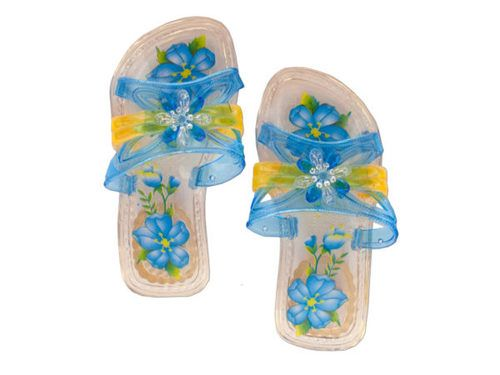 Great for costumes and dressing up, these Children's Princess Crystal Slippers feature clear plastic sandals with jeweled flower accents, printed foot beds and square heels with an embossed flower design. Comes in assorted sizes. Comes packaged in a poly bag with a header card.