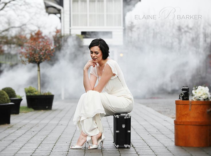 The Station House Hotel Styled photoshoot. Vinatage bride in 'train station look'..I borrowed a smoke machine for this shot!