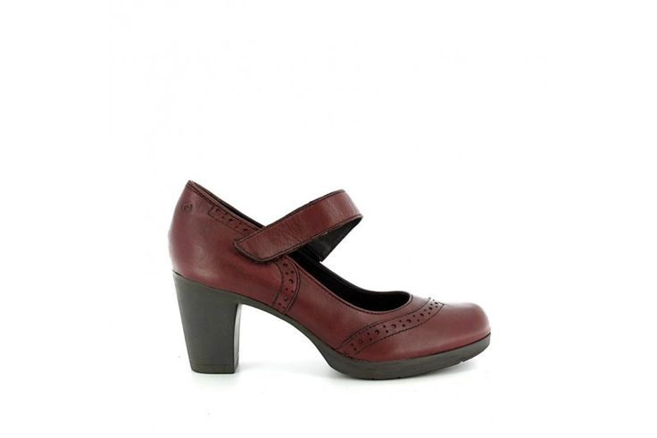 Ruby 3216 Matt Bordeaux - Shoes in real leather with strap, rubber sole and heel 7 cm high.