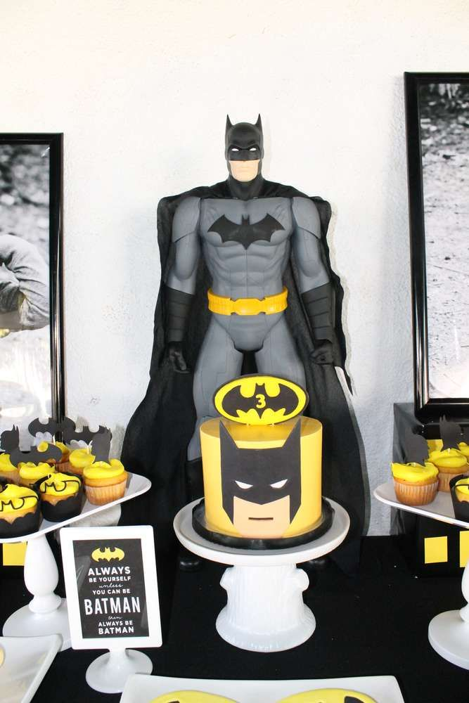 Black and yellow dessert table at a Batman birthday party! See more party planning ideas at CatchMyParty.com!